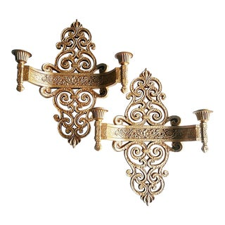 Vintage Syroco Candle Sconce - a Pair For Sale