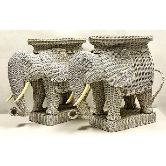 Hollywood Regency Pair of Large Scale Wicker Elephant Side Tables For Sale - Image 3 of 5
