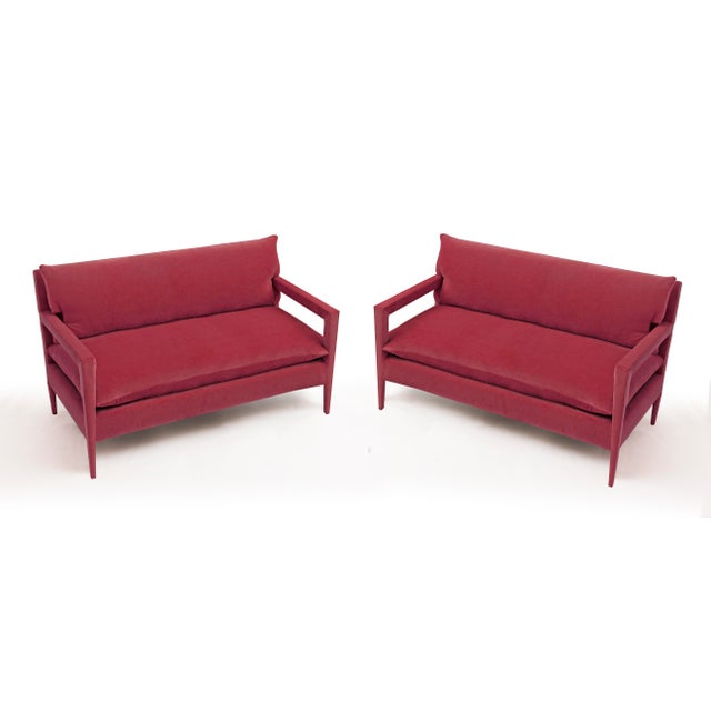 BOND Design Studio Stunning Parsons Sofa With Stiletto Legs Fully Reupholstered in Rich Pink Velvet - a Pair For Sale - Image 4 of 4