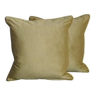 Custom Chartreuse Velvet Pillows - a Pair For Sale