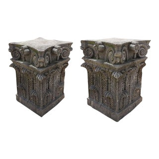 Cantera Stone Bases - A Pair For Sale