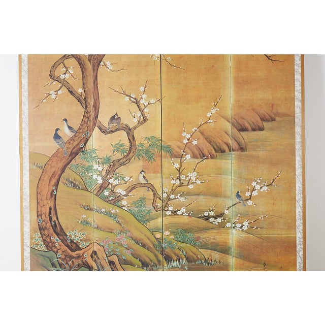 Brass Japanese Edo Style Four-Panel Spring Landscape Screen For Sale - Image 7 of 13