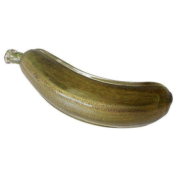 Seguso Murano Green & Gold Dust Banana For Sale In West Palm - Image 6 of 6