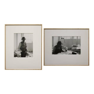 Framed Black and White Self Portraits Photographs by Gottfried Tollman - a Pair For Sale