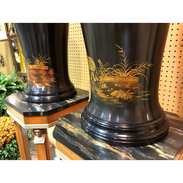 Black Vintage Chinoiserie Painted Lidded Urns - a Pair For Sale - Image 8 of 10