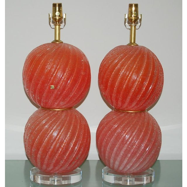 Vintage venetian glass sphere table lamps in MELON ORANGE! Pulegoso glass with tons of tiny bubbles inside - gives the...