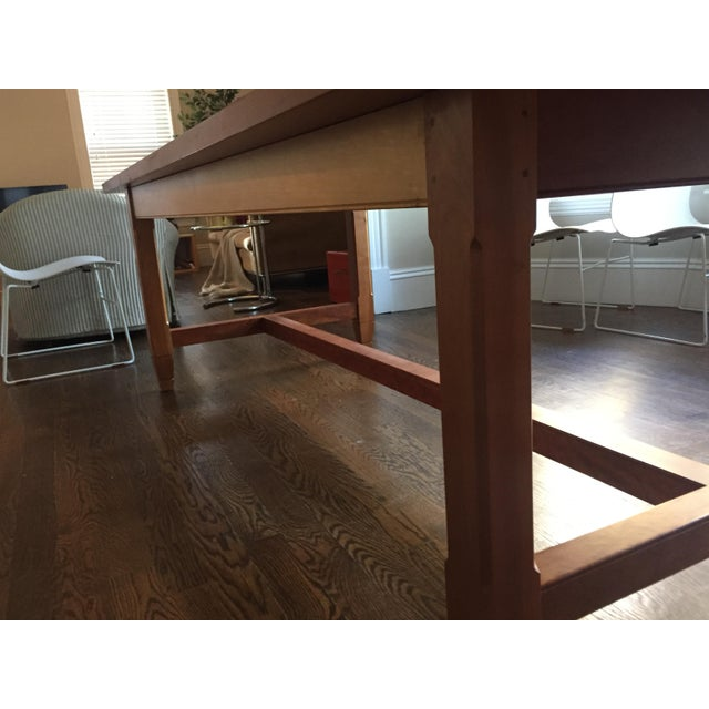 Cherry Wood Solid Cherry Dining Table With Antique-Style Trestle For Sale - Image 7 of 11