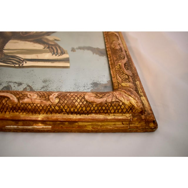 Gold 19th C. French Exotic Hand-Painted Decoupage Mirror, Animal Trainer, Monkey & Bear For Sale - Image 8 of 13