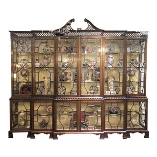 Original Design Estate Chippendale Mahogany Display Breakfront, Circa 1950 For Sale