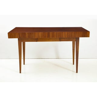 Italian Walnut Table With Single Drawer and Tapered Legs, Style of Gio Ponti Preview