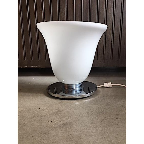 Fun Mid Century Frosted Glass and Chrome Table Lamp. Unique shape and design. A tiny spot of pitting along the top edge as...