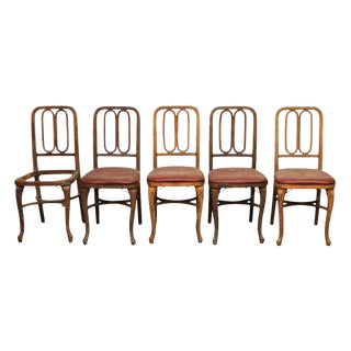 Art Deco Wooden Dining Chairs - Set of 5 For Sale