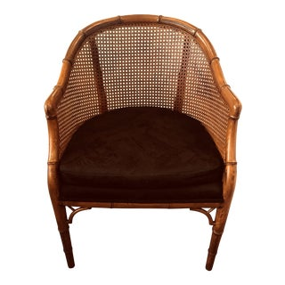 Vintage Mid Century Faux Bamboo and Cane Tub Chair For Sale
