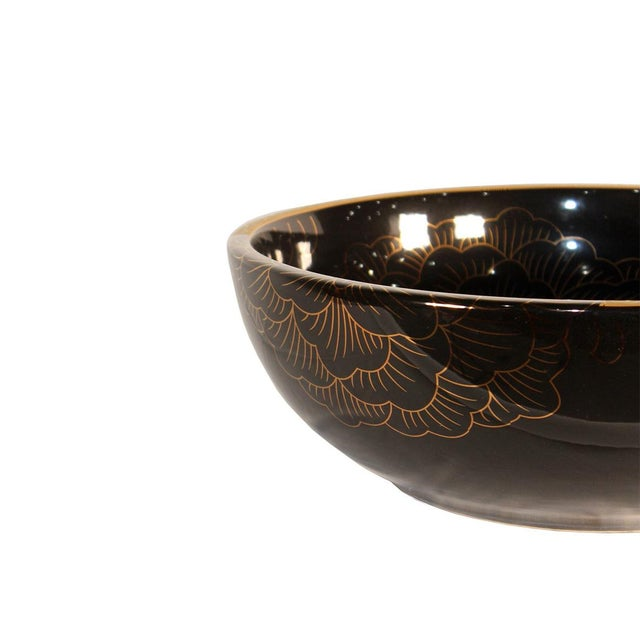 Asian Modern Pasargad DC Black & Gold Motif Sink Bowl For Sale - Image 3 of 5