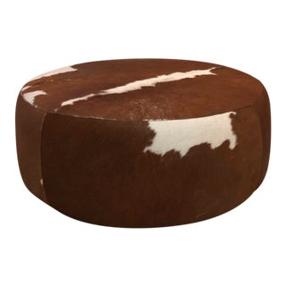 Modern Room & Board Round Cowhide Ottoman For Sale