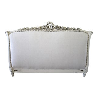 19th Century Carved & Painted Louis XVI Style King Size Headboard