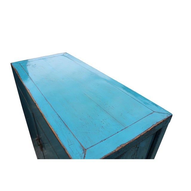 Asian Chinese Distressed Rustic Bright Turquoise Blue Foyer Console Table Cabinet For Sale - Image 3 of 9