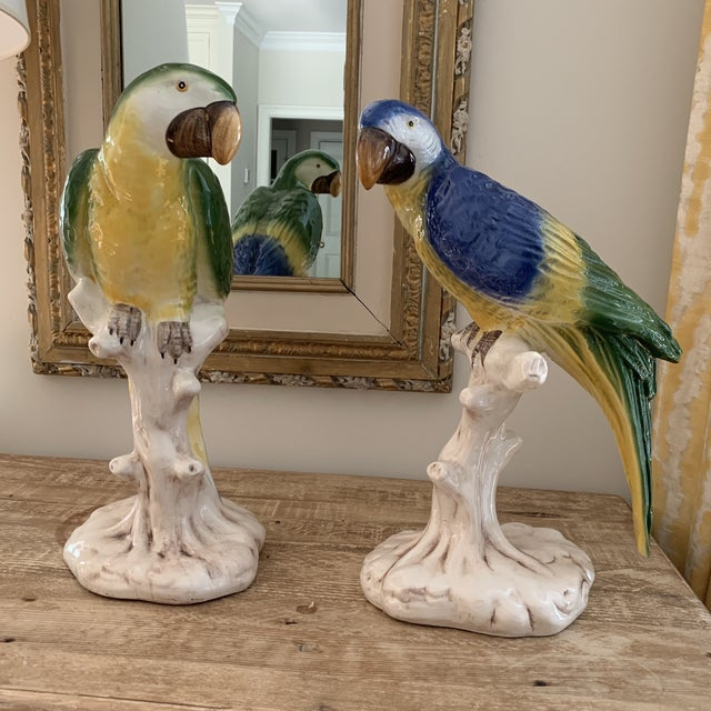 Large Vintage Italian Handpainted Parrots- a Pair For Sale - Image 11 of 11