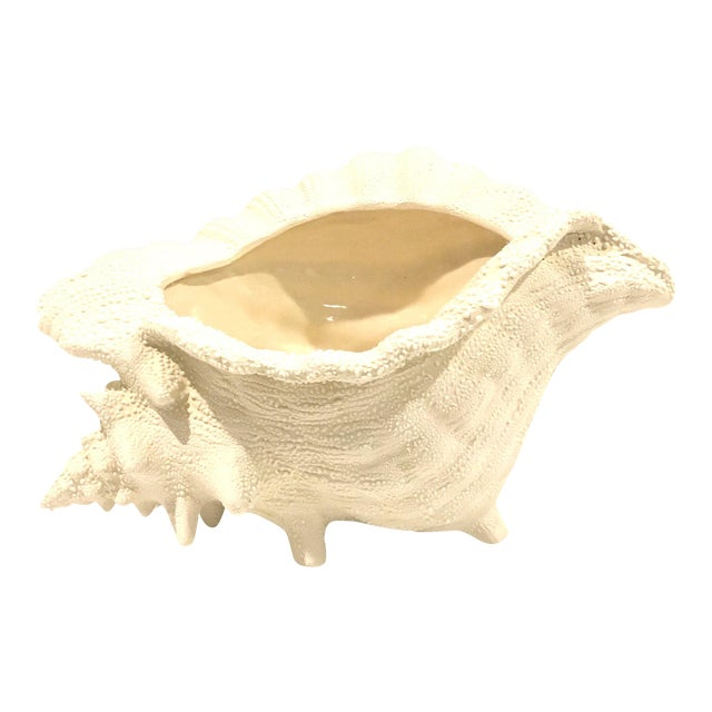 Ceramic Textured Cream Conch Shell Planter - Image 1 of 6