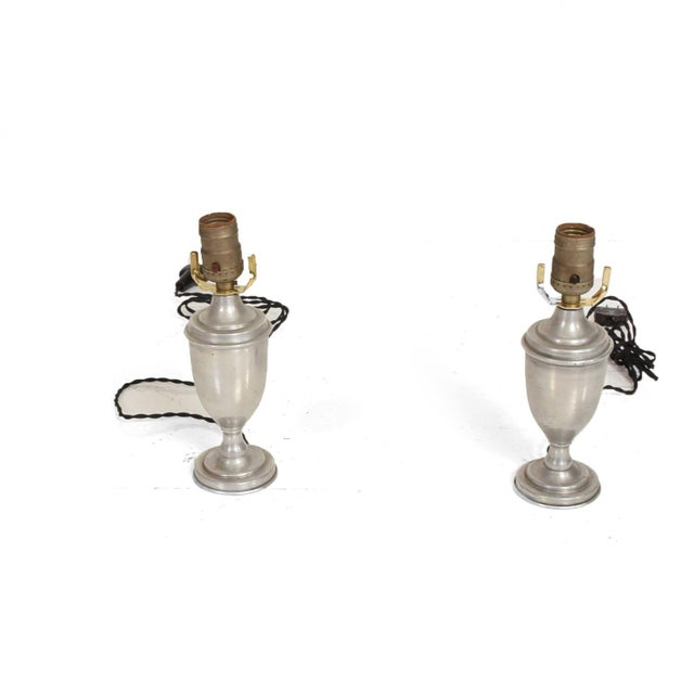 Metal Hollywood Regency Petite Aluminum Table Lamps - a Pair For Sale - Image 7 of 7