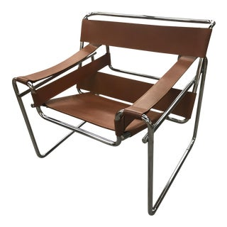 Authentic Marcel Breuer Vintage Brown Leather Wassily Chair