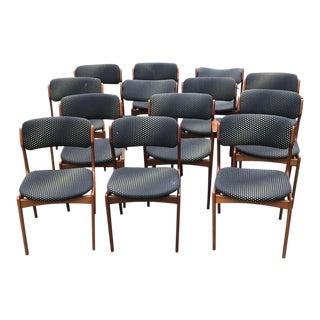 1960s Vintage Danish Modern Erik Buch for o.d. Mobler Teak Dining Chairs- Set of 13 For Sale