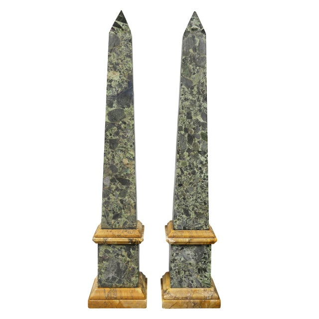 Mid 19th Century Large Italian Grand Tour Verde Antico and Siena Marble Obelisks - a Pair For Sale - Image 5 of 8