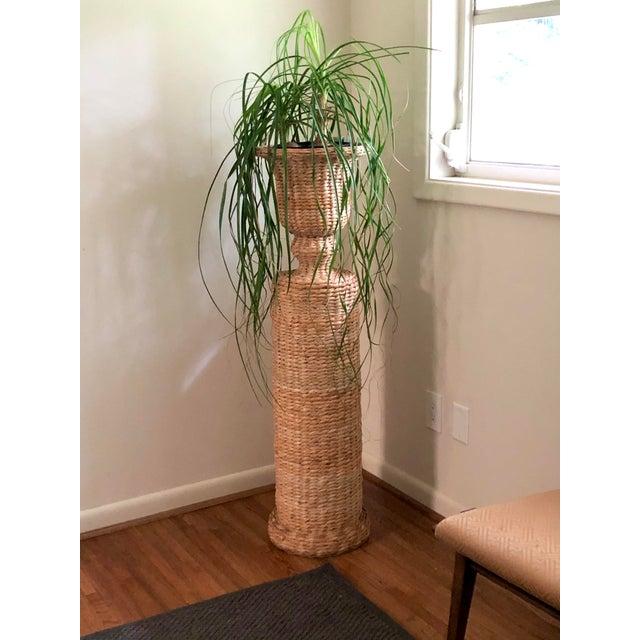 Tan Vintage Rattan Urn Shaped Pedestal Plant Stand For Sale - Image 8 of 9