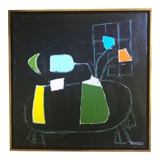 """Sarah Trundle """"Green Vase"""" Framed Contemporary Still Life Painting For Sale"""