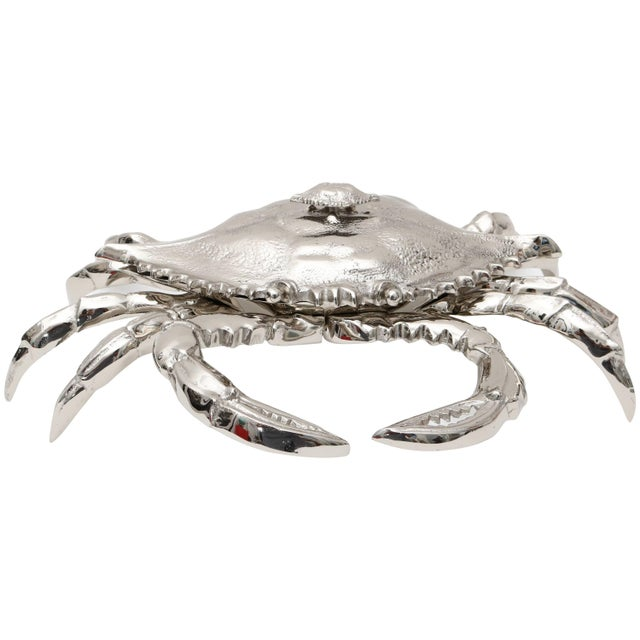 Nickle-Plated Life Size Crab Form Lidded Dish by Angel & Zevallos C. 2017 For Sale - Image 10 of 10