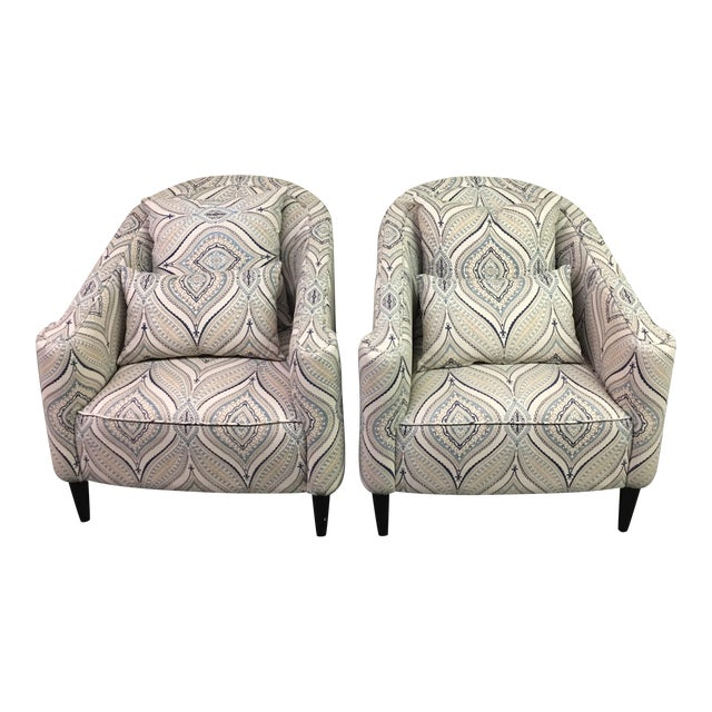 Contemporary Barrel Chairs - A Pair - Image 1 of 9