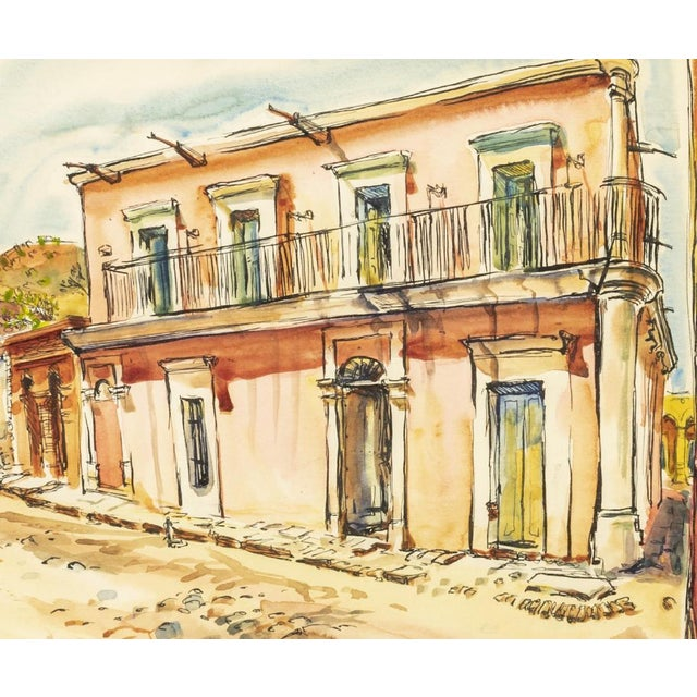 """Framed watercolor painting on paper, """"Alamos, Mexico"""", signed legendary Texan artist Bruce Marshall (Texas, 1929-2015),..."""