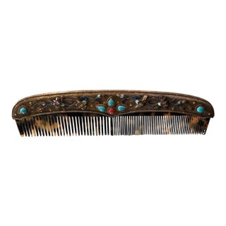 Antique Sterling Silver Enamel and Turquoise Comb For Sale