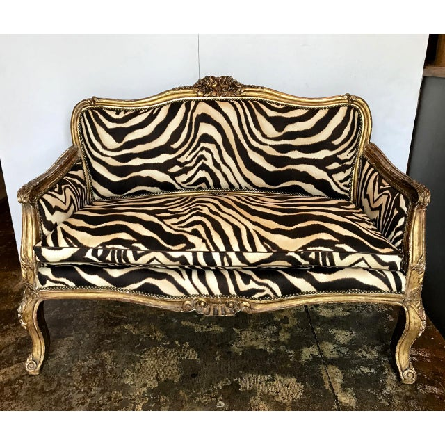Carved Giltwood Small Sofa, 19th Century For Sale - Image 13 of 13