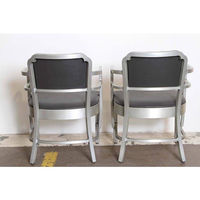 1930s Pair of Machine Age Art Deco Leather GoodForm Armchairs Brushed Aluminum For Sale - Image 5 of 11