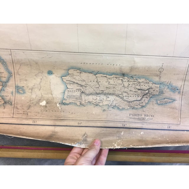 Americana 1900 Antique Department of the Interior USA & Territories Wall Map For Sale - Image 3 of 11