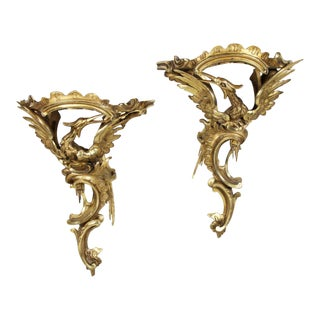Pair of George III Giltwood Wall Brackets For Sale
