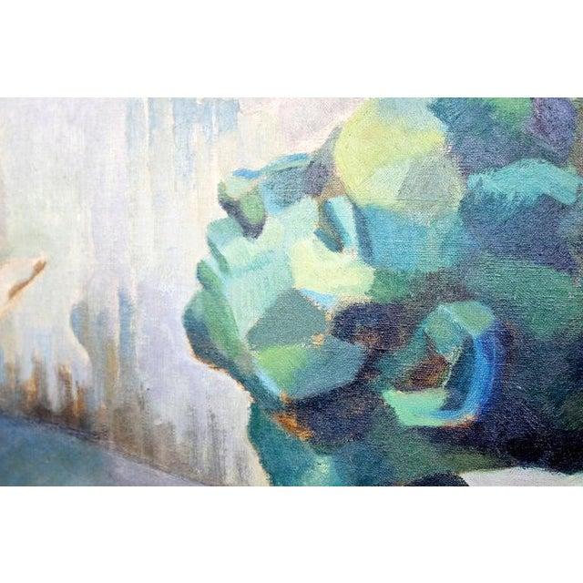 Mid-Century Modern Impressionist Framed Oil Painting on Canvas Signed B. Rosenbaum For Sale In Detroit - Image 6 of 10