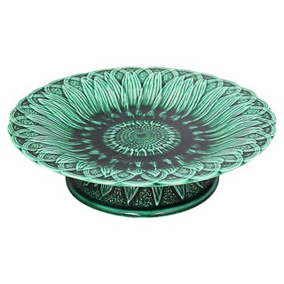 Antique English Majolica Sunflower Cake Stand For Sale