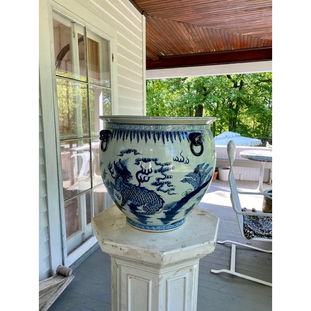 Large Vintage Blue & White Dragons Asian Fish Bowl Planter Pot For Sale - Image 10 of 12