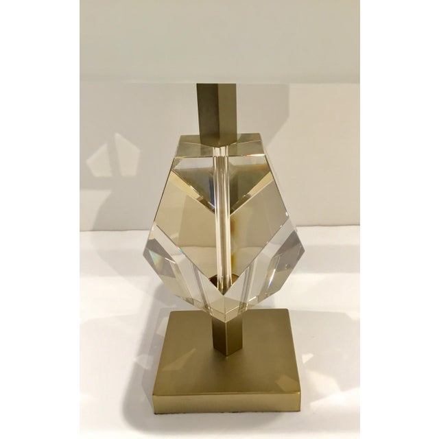 Modern Arteriors Modern Geometric Champagne Crystal Table Lamp For Sale - Image 3 of 6