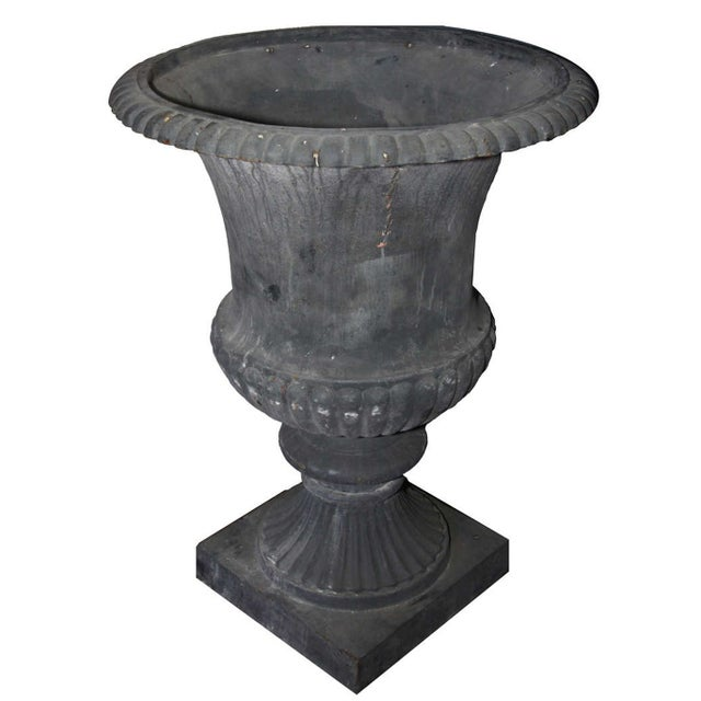 French Country Oversize Cast Iron French Urns - A Pair For Sale - Image 3 of 4