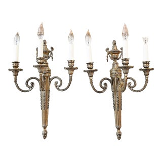 1980s Vaughan Neoclassical Style Candelabra Sconces - a Pair For Sale