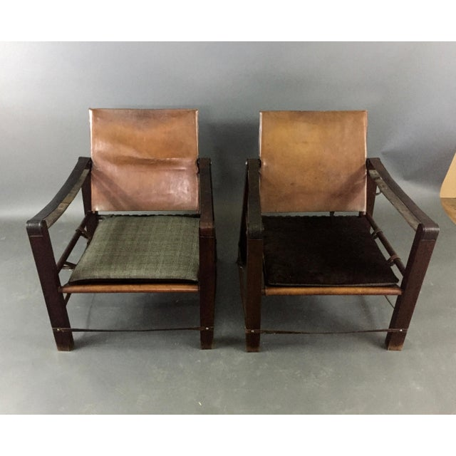 Primitive American Mid-Century Safari Chair, Reversible Seat Cover For Sale - Image 3 of 13