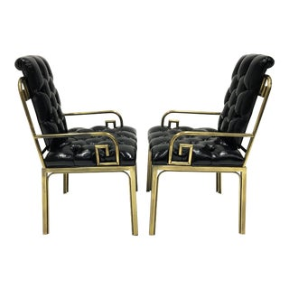 Pair Mastercraft Greek Key Design Brass Dining Chairs For Sale