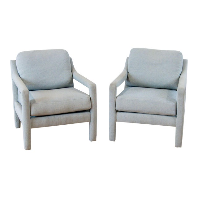 Century Furniture Gray Upholstered Armchairs - A Pair For Sale