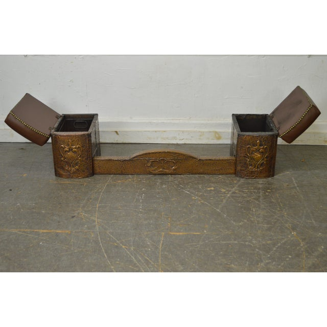 Animal Skin Antique English Arts & Crafts Hammered Copper Fireplace Fender w/ Leather Seats For Sale - Image 7 of 10