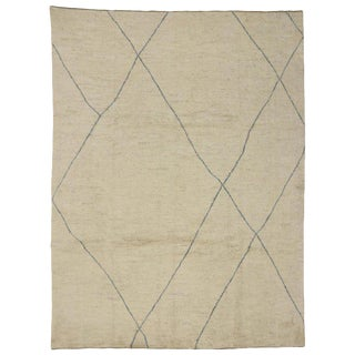 Contemporary Minimalist Moroccan Style Area Rug - 9′1″ × 12′1″ For Sale