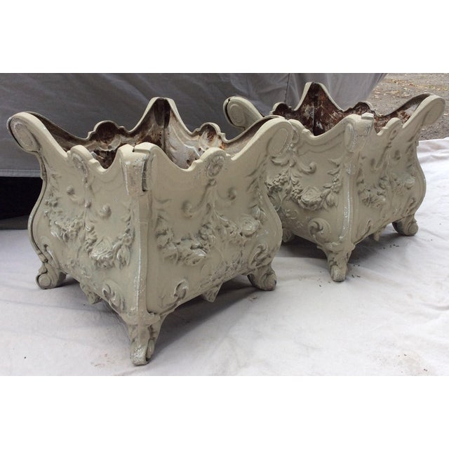 Antique French Style Cast Iron Planters - A Pair - Image 7 of 7