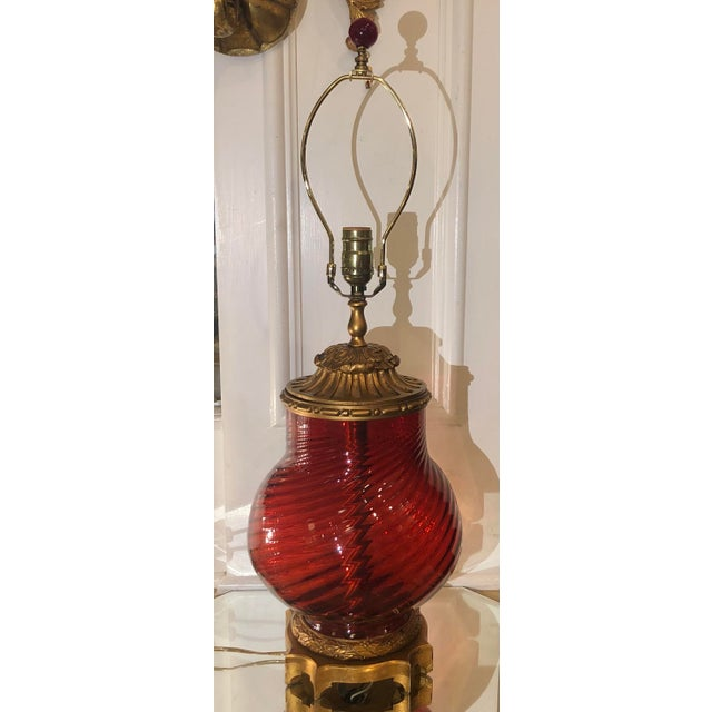 1990s Millie Hampshire Designer Ruby Red Glass Table Lamp For Sale - Image 5 of 5